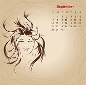 Artistic Vintage Calendar For September 2014.