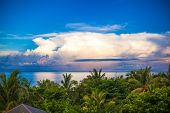 Panoramic Views Of Ocean And Beautiful Sky From The Balcony