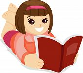 image of girl reading book  - An Illustration of a Kid Reading a Book against white background - JPG