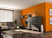 modern interior design (private apartment 3d rendering)