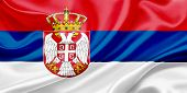 pic of serbia  - Flag of Serbia Waving In The Wind - JPG