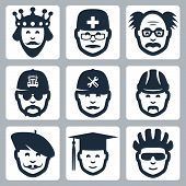 Vector Profession Icons Set: King, Doctor, Scientist, Trucker, Repairman, Builder, Artist, Graduatin