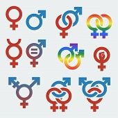 stock photo of orientation  - Vector symbols of sexual orientation and gender - JPG
