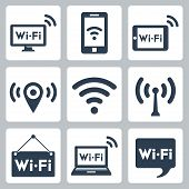 Vector Wifi Icons Set: Pc, Smartphone, Tablet Pc, Pointer, Hotspot, Signboard, Laptop, Speech Bubble