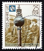Postage Stamp Gdr 1990 Tv And Microwave Tower