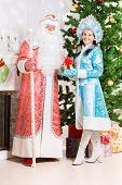 Snow Maiden And Santa Claus