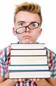 Funny student with stack of books