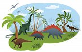 pic of apatosaurus  - Vector illustration of world of dinosaurs  - JPG