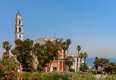 St. Peter's church among green plants and palms under blue sky in Jaffa, Israel.