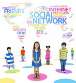 Children and Social Networking Themed Words Forming the World Above