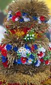 Beautiful Ornament From Stalks Of Grain Cereals And Flowers.