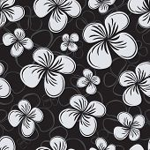 Seamless flower monochrome vector pattern.