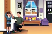 picture of measuring height  - A vector illustration of father measuring his son height with height scale at home - JPG