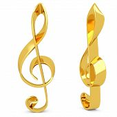3D Treble Clef Made Of Gold