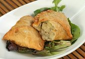 foto of samosa  - asian food two home made vegetarian samosas - JPG