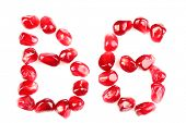 Vitamin B6 sign made of pomegranate seeds, isolated on white