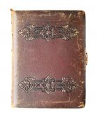 stock photo of vintage antique book  - antique photo book with embossed leather cover and clasp isolated on white - JPG