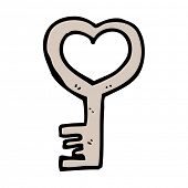 cartoon heart shaped key