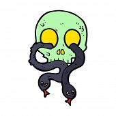 cartoon skull with snakes