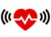 stock photo of heart sounds  - Red heart with rate and radio signal from both sides - JPG