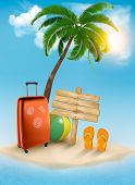 Vacation background. Beach with palm tree, suitcase and flip flops.  Raster version