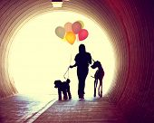 a girl at the end of a tunnel holding balloons and two dogs done with an instagram vintage retro filter