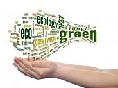Concept or conceptual abstract green ecology, conservation word cloud text in man hand on white back
