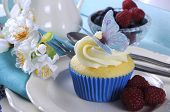 Close Up Of Delicious Cupcake With Butterfly Wafer Decoration On Vintage Aqua Blue Tray Setting With