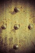 Brown Grunge Metal Plate Or Armour Texture With Rivets
