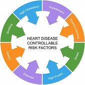 image of hypertensive  - Heart Disease Controllable Risk Factors Circle Concept with great terms such as smoking hypertension stress and more - JPG