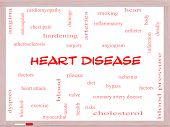 stock photo of angiogram  - Heart Disease Word Cloud Concept on a Whiteboard with great terms such as plaque ischemia factors and more - JPG