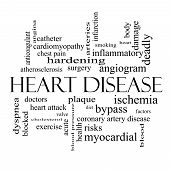 picture of angiogram  - Heart Disease Word Cloud Concept in black and white with great terms such as plaque ischemia factors and more - JPG