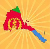 Eritrea map and flag on sunburst illustration
