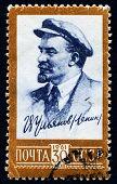 USRR 1961 - portrait of Vladimir Lenin on a vintage canceled post stamp, circa 1961