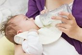 image of child feeding  - Mother feeding baby with milk from a bottle - JPG