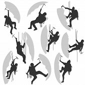 Set Silhouettes Of Alpinists.