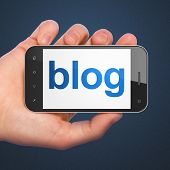 SEO web design concept: Blog on smartphone