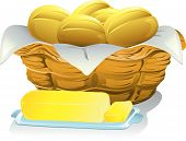 stock photo of bread rolls  - Illustration of a basket of bread rolls and a stick of butter - JPG