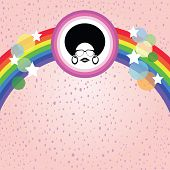 afro lady and rainbow