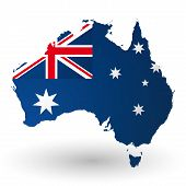 Map and flag of Australia idea design
