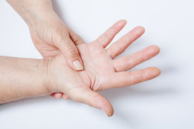 pic of crippled  - Elderly woman hands suffers from muscular pains - JPG