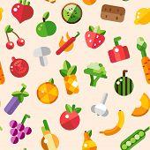 Illustration of flat design fruits and vegetables pattern