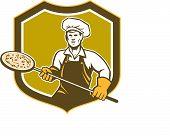 Pizza Maker Holding Peel Shield Retro
