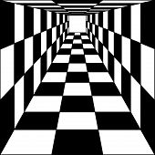 abstract background, chess corridor tunnel. Vector illustration.