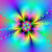 Flower and lace fractal in neon colors