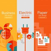 Set of flat design concepts - paper, business, electricity