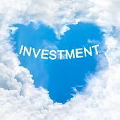 Investment Word On Blue Sky