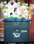 Post box with colorful abstract letters