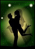 Silhouette Of Bride And Groom On The Background Of The Beautiful Starry Sky
