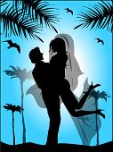 Silhouette Of Bride And Groom On The Background Of Blue Sky